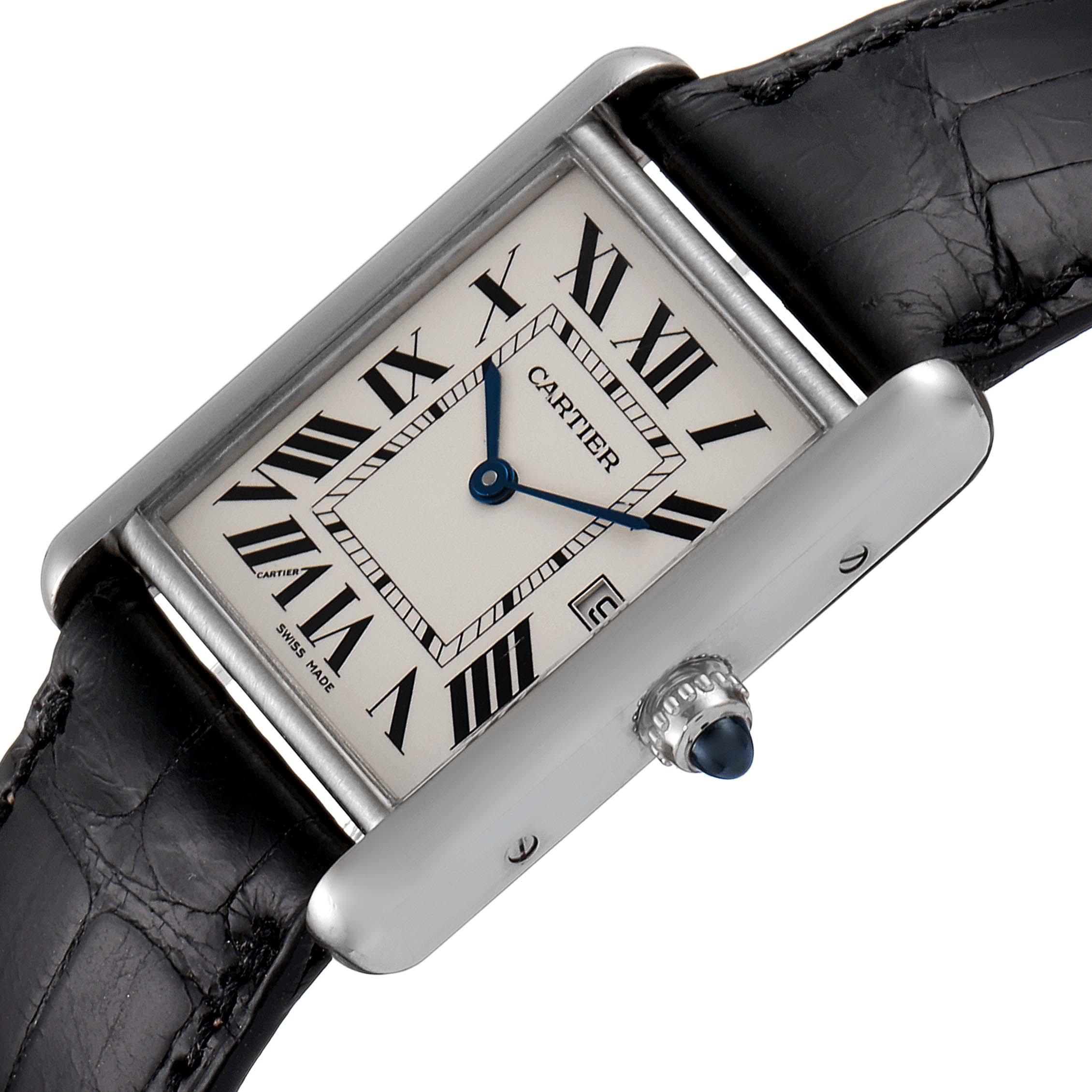 Cartier Tank Louis Large White Gold Black Strap Unisex Watch W1540956 SwissWatchExpo