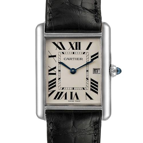 Photo of Cartier Tank Louis Large White Gold Black Strap Unisex Watch W1540956