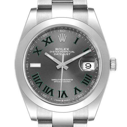 Photo of Rolex Datejust 41 Grey Dial Green Numerals Steel Mens Watch 126300 Box Papers