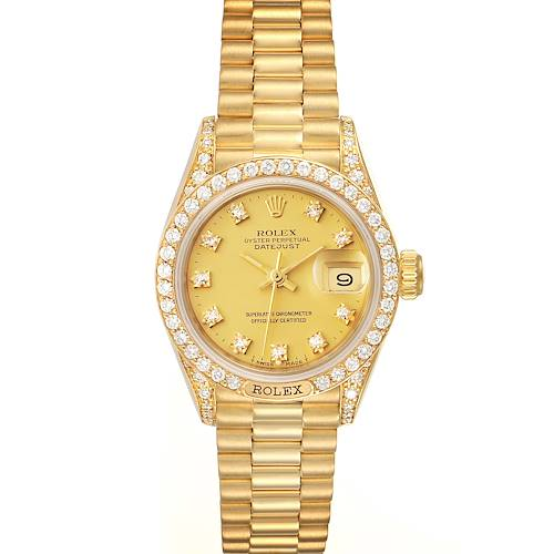 Photo of Rolex President Datejust 26mm Yellow Gold Diamond Ladies Watch 69158 Box Papers
