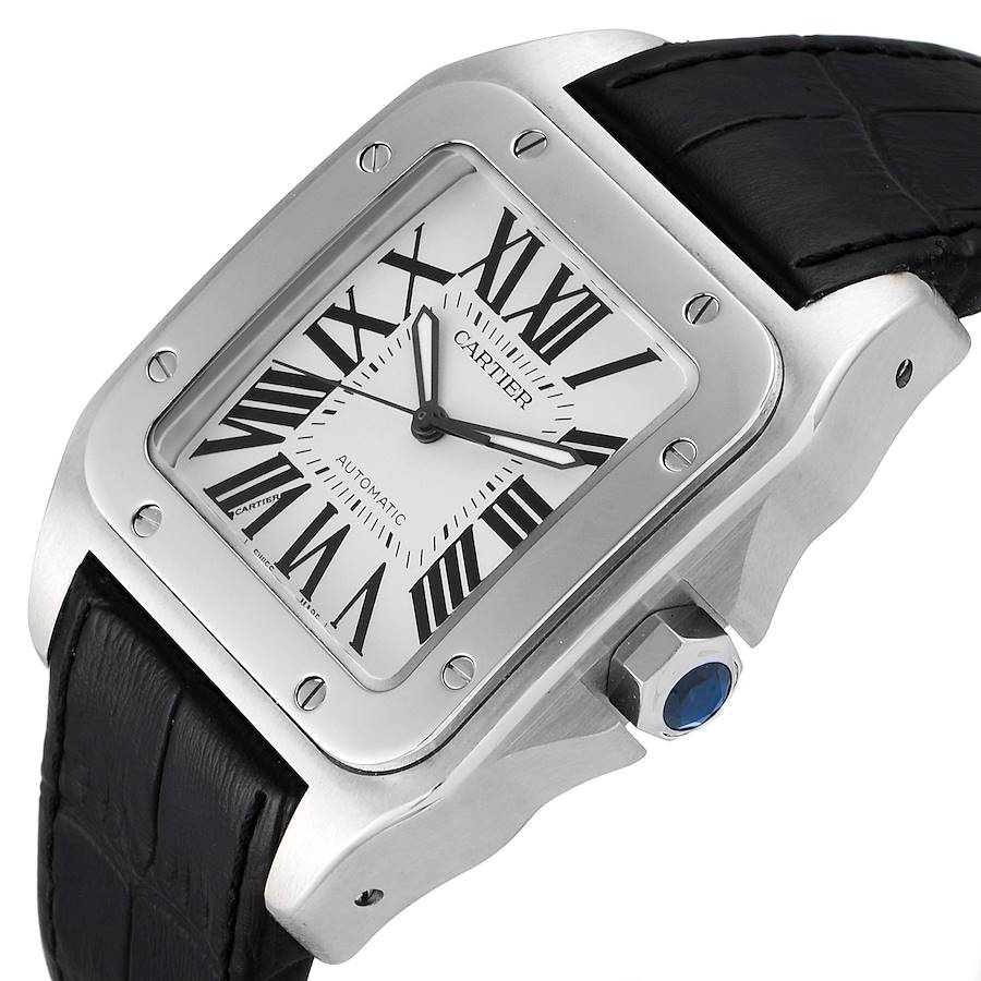 Cartier Santos 100 Silver Dial Black Strap Steel Mens Watch W20073X8 Box Papers SwissWatchExpo