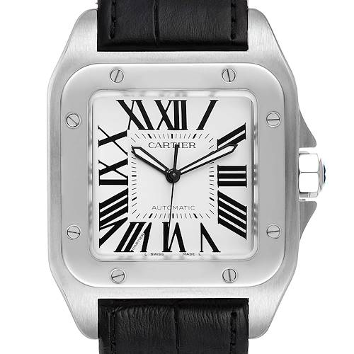 Photo of Cartier Santos 100 Silver Dial Black Strap Steel Mens Watch W20073X8 Box Papers