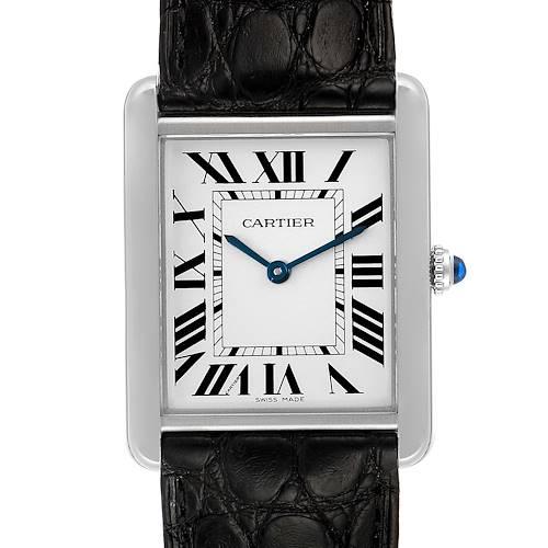 Photo of Cartier Tank Solo Steel Silver Dial Black Strap Unisex Watch W1018355 Box