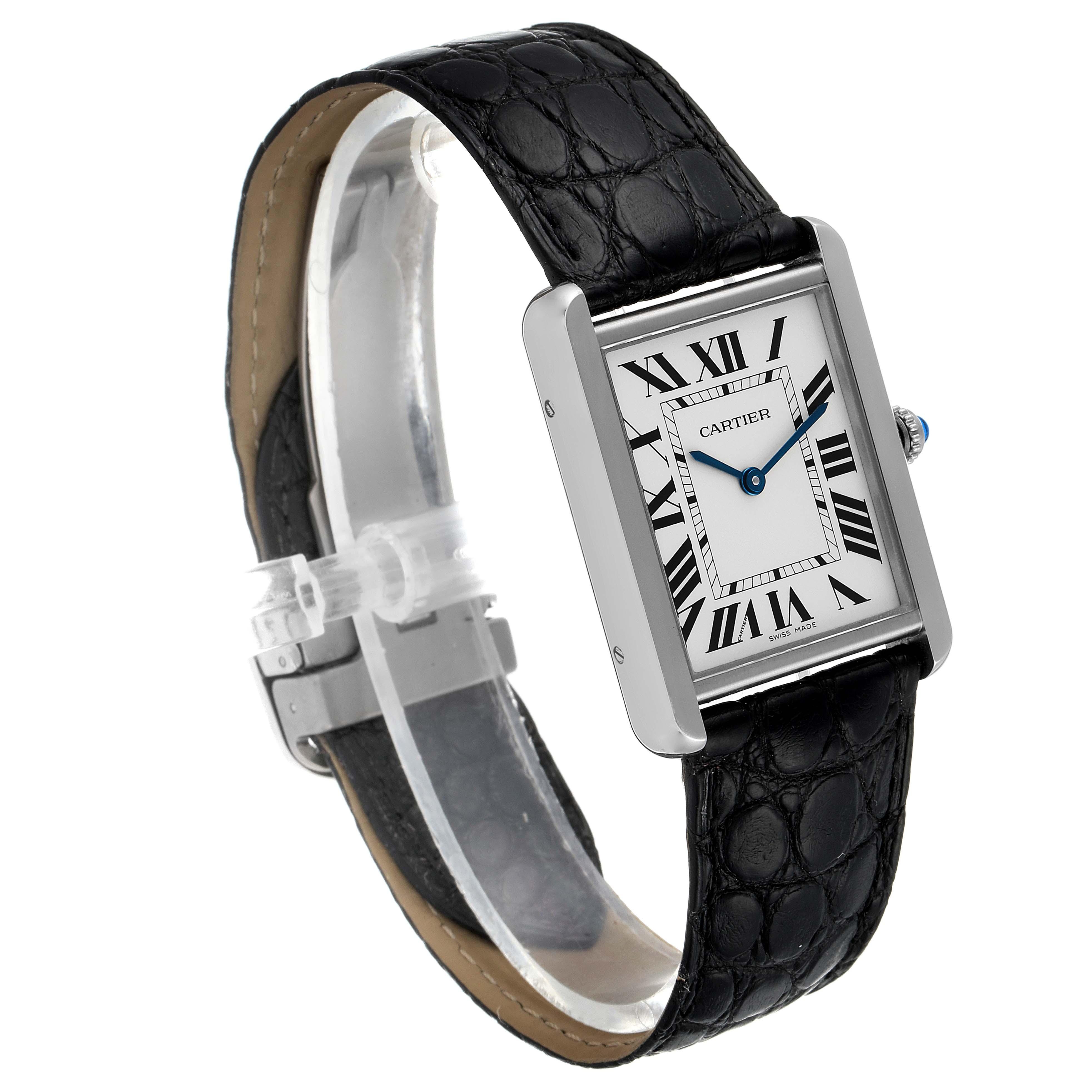 Cartier Tank Solo Steel Silver Dial Black Strap Unisex Watch W1018355 Box SwissWatchExpo