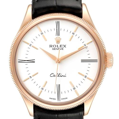 Photo of Rolex Cellini Time 18K EveRose Gold White Dial Mens Watch 50505 Box