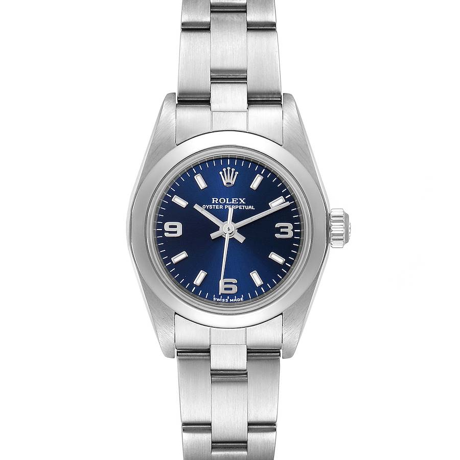 Rolex Oyster Perpetual 24 Nondate Blue Dial Ladies Watch 76080 Box SwissWatchExpo