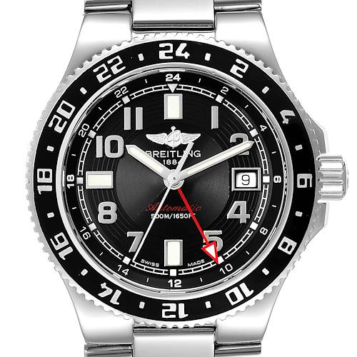 Breitling Aeromarine Superocean GMT Black Dial Mens Watch A32380 Box Papers
