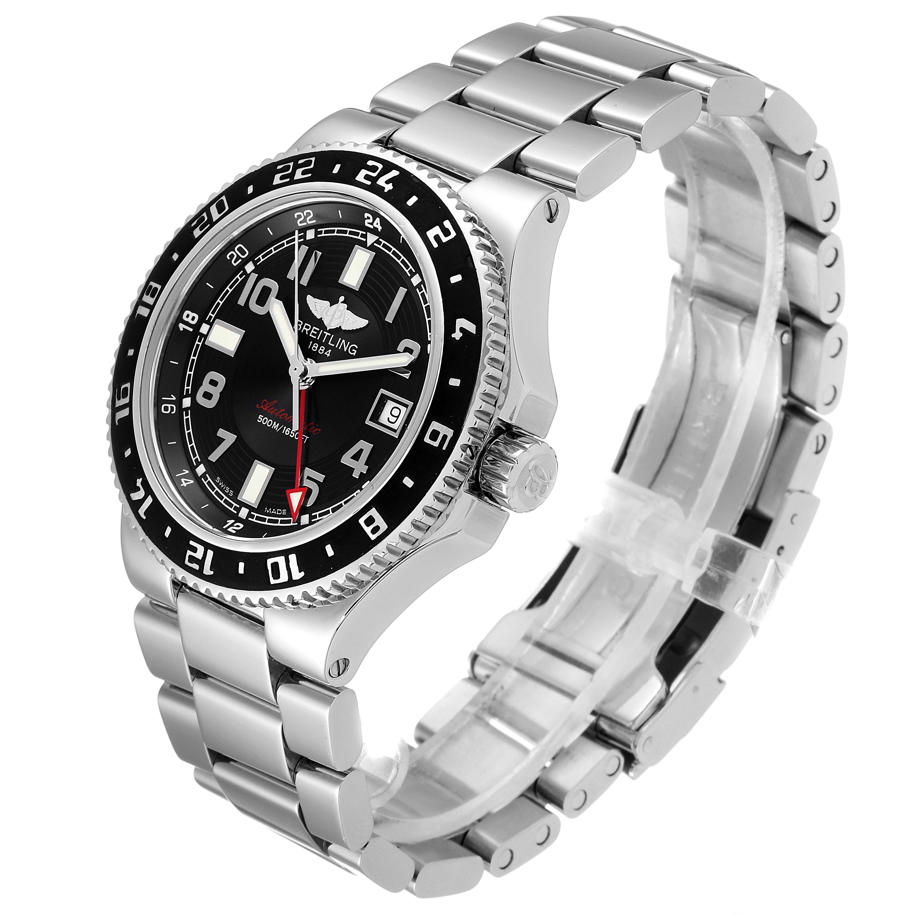 Breitling Aeromarine Superocean GMT Black Dial Mens Watch A32380 Box Papers SwissWatchExpo