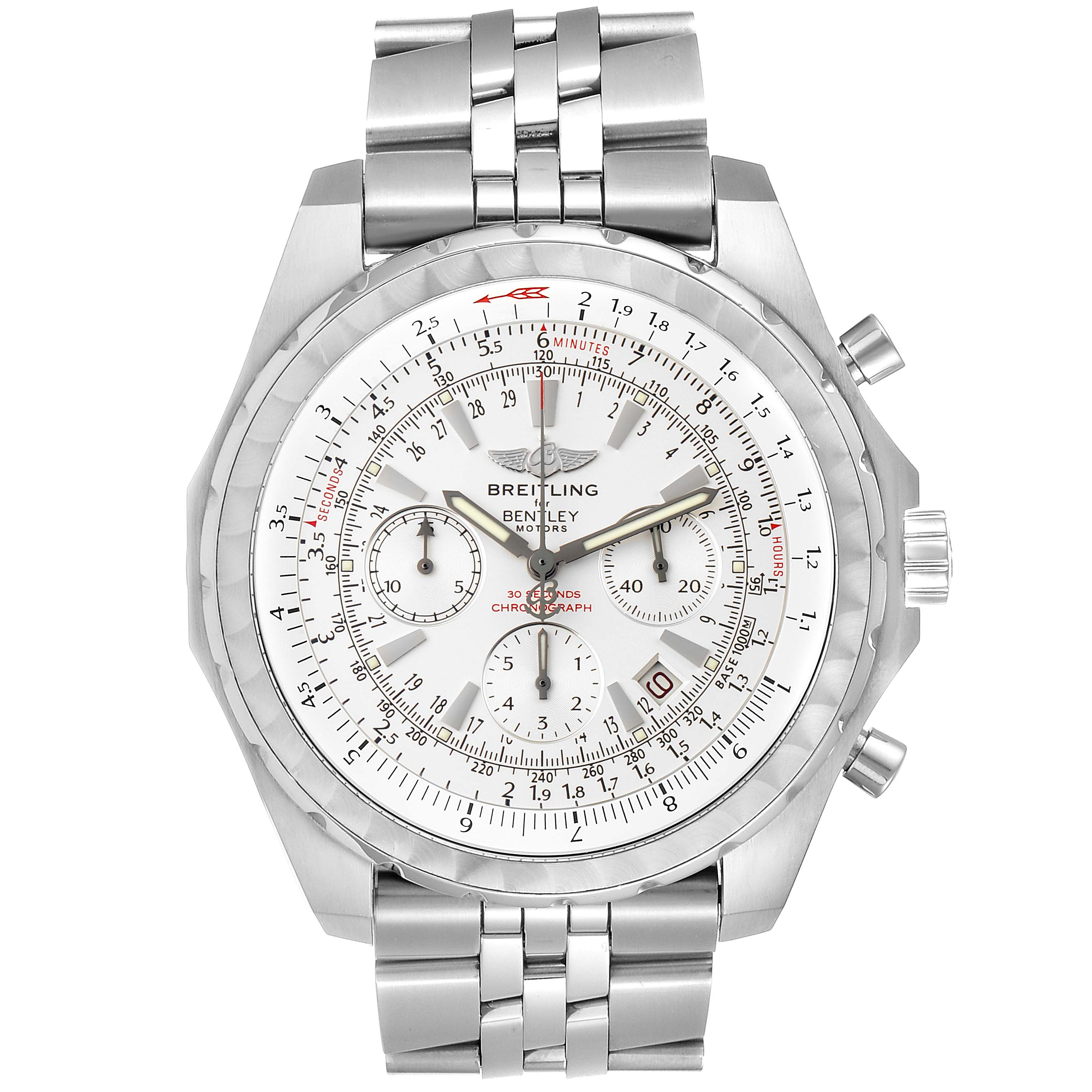 Breitling Bentley Motors T White Dial Chronograph Mens Watch A25363 Box SwissWatchExpo