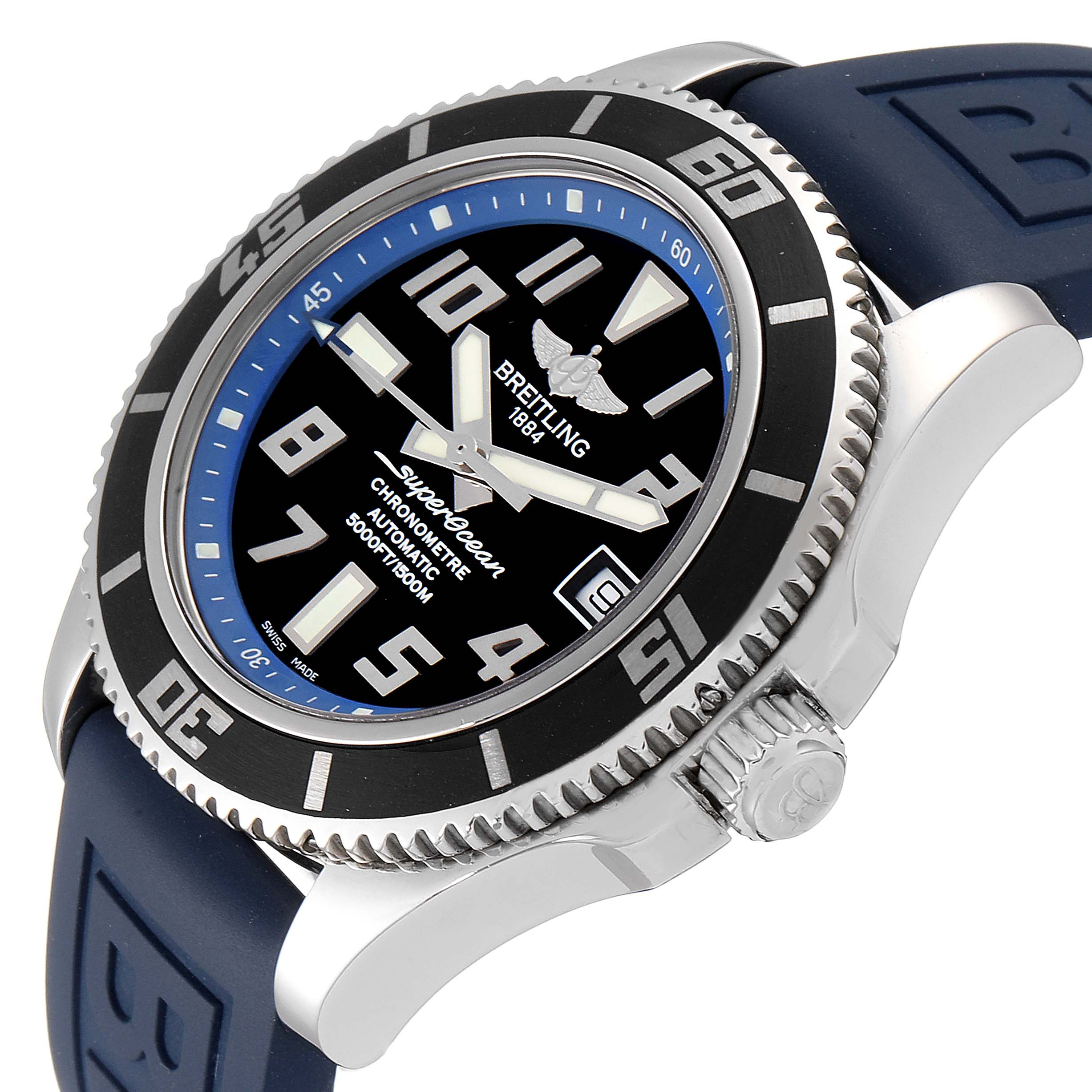 Breitling Superocean 42 Abyss Black Blue Dial Steel Mens Watch A17364 Box Papers SwissWatchExpo