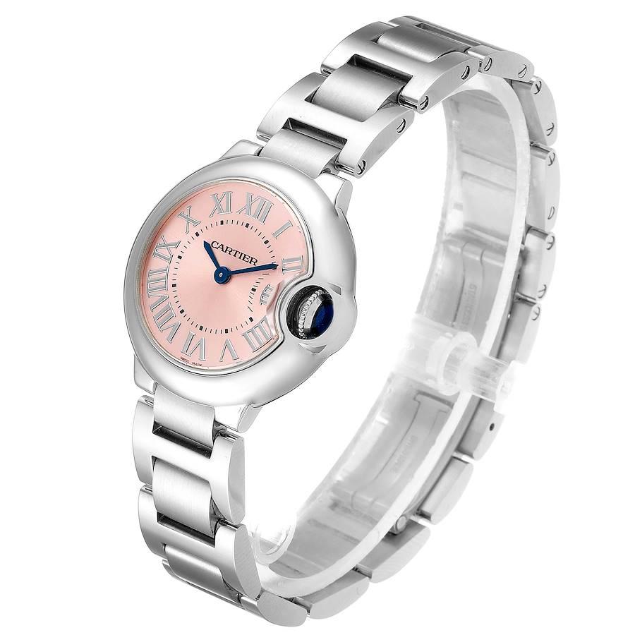 Cartier Ballon Bleu Pink Dial 28mm Steel Ladies Watch W6920038 Unworn SwissWatchExpo