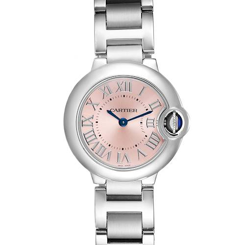 Cartier Ballon Bleu Pink Dial 28mm Steel Ladies Watch W6920038 Unworn
