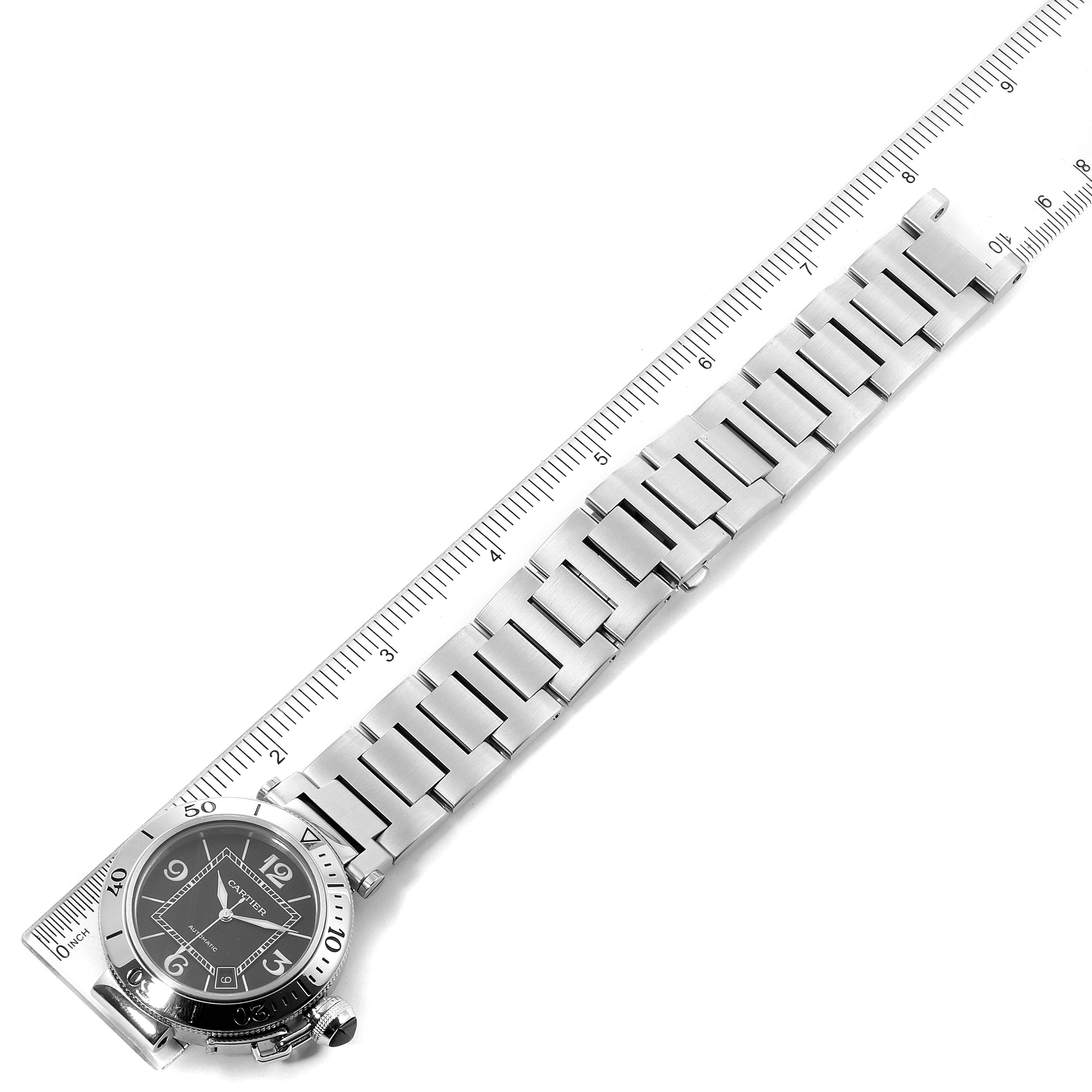 Cartier Pasha Seatimer Black Dial Automatic Mens Watch W31077M7 SwissWatchExpo