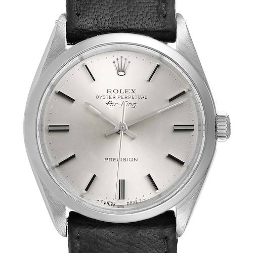 Photo of Rolex Air King Silver Dial Black Strap Vintage Steel Mens Watch 5500