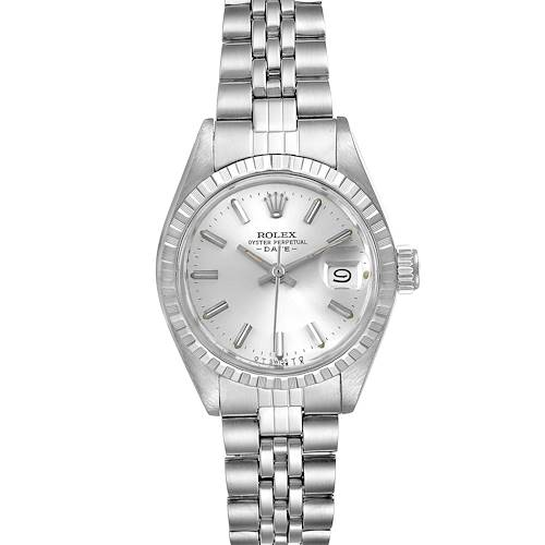 Photo of Rolex Date Silver Baton Dial Automatic Steel Ladies Watch 6924 Box