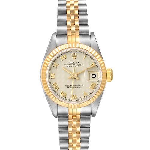 Photo of Rolex Datejust Steel Yellow Gold Ivory Pyramid Dial Ladies Watch 69173 Box Papers