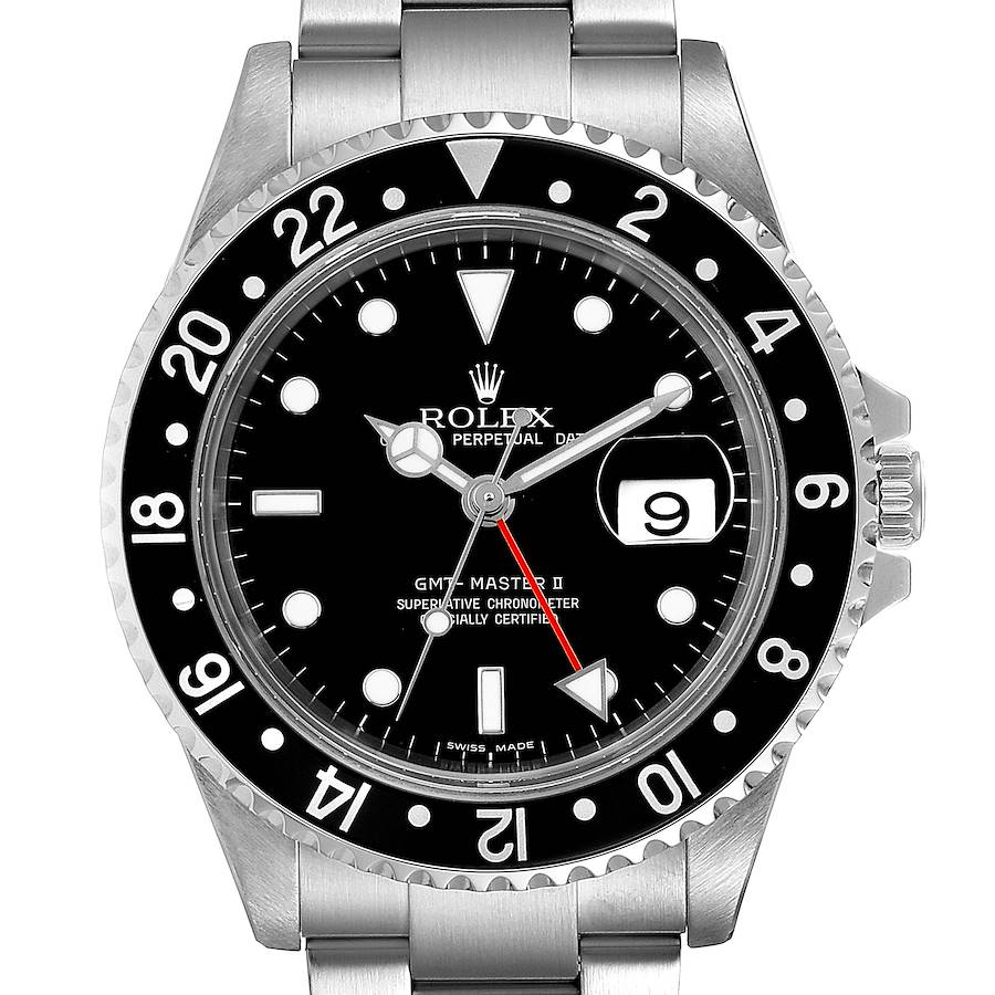 Rolex GMT Master II Black Bezel Red Hand Steel Mens Watch 16710 Box SwissWatchExpo