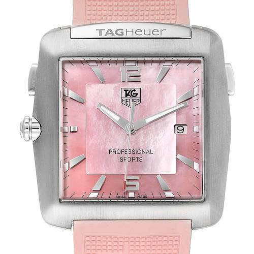 Photo of Tag Heuer Monaco Pink Mother of Pearl Rubber Ladies Watch WAE1114 Box Papers