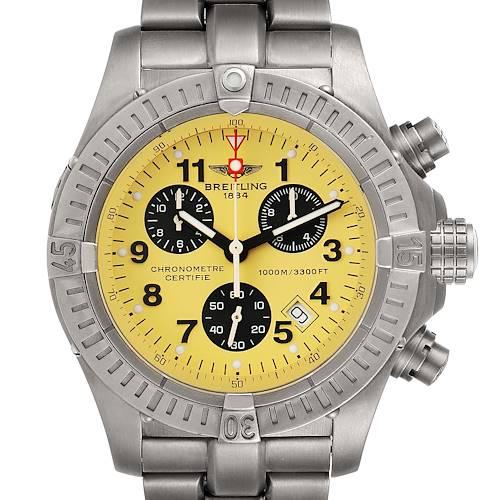 Photo of Breitling Aeromarine Chrono Avenger M1 Yellow Dial Titanium Watch E73360 Box