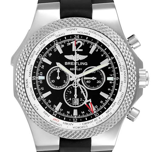 Photo of Breitling Bentley GMT Black Dial Steel Mens Watch A47362 Box