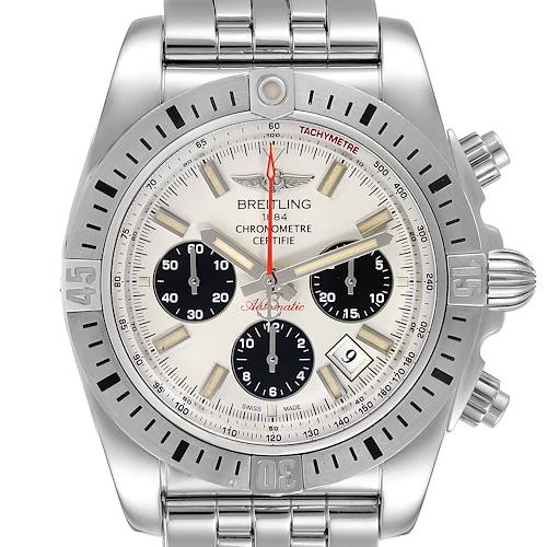 Photo of Breitling Chronomat 44 Airbourne Silver Dial Steel Mens Watch AB0115 Box
