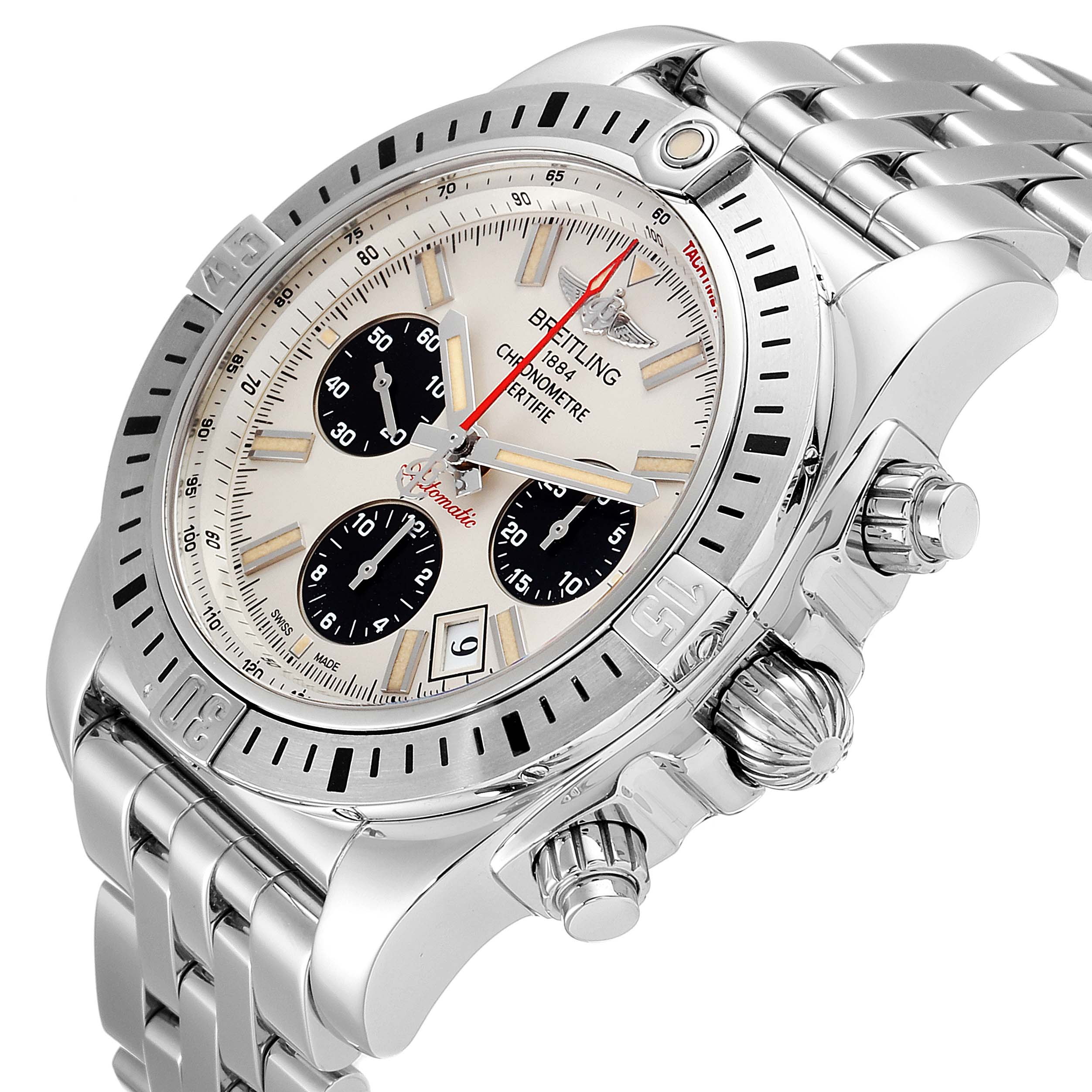 Breitling Chronomat 44 Airbourne Silver Dial Steel Mens Watch AB0115 Box SwissWatchExpo
