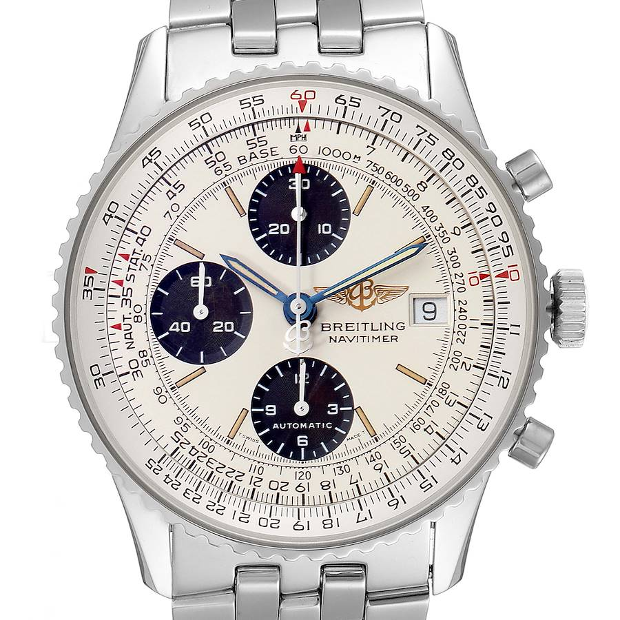 Breitling Old Navitimer II Silver Dial Steel Mens Watch A13022 SwissWatchExpo