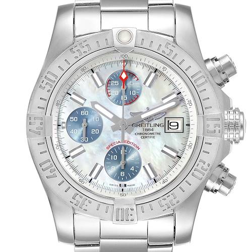 Photo of Breitling Super Avenger Mother of Pearl Special Edition Mens Watch A13381 Unworn
