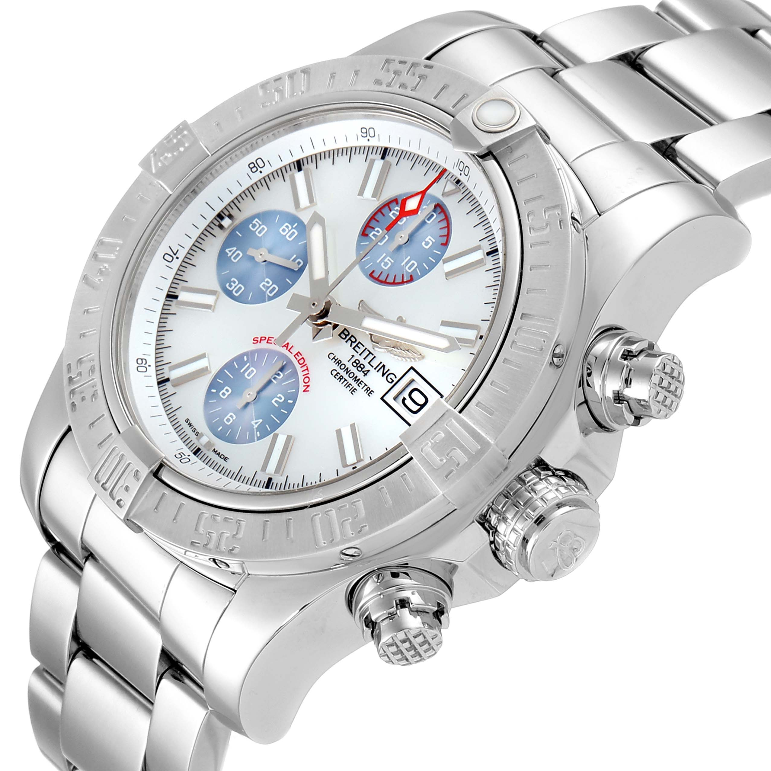 Breitling Avenger II Mother of Pearl Special Edition Mens Watch A13381 Unworn SwissWatchExpo