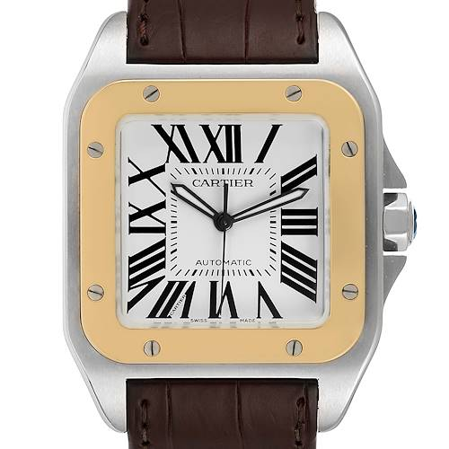 Photo of Cartier Santos 100 Steel Yellow Gold 38mm Mens Watch W20072X7 Box