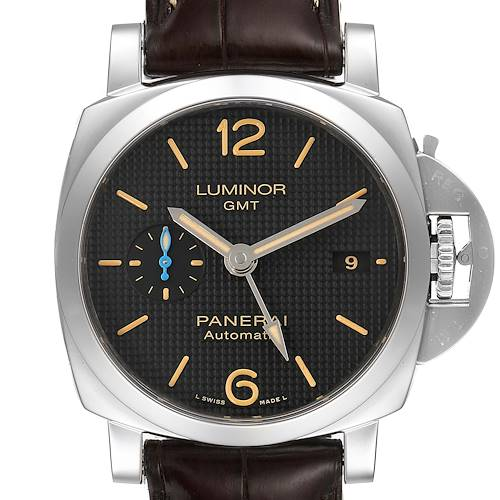 Panerai Luminor 1950 GMT 42mm Steel Mens Watch PAM01535 Box Papers