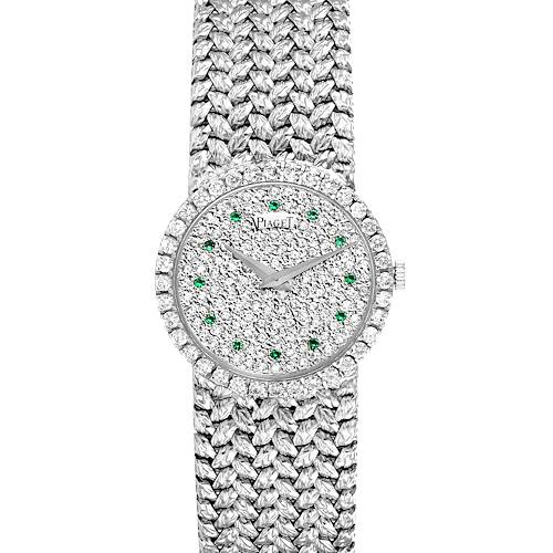 Photo of Piaget White Gold Pave Diamond Emerald Dial Vintage Cocktail Ladies Watch 9706
