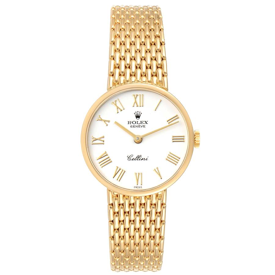 Rolex Cellini Classic 26mm White Dial Yellow Gold Ladies Watch 5041 SwissWatchExpo
