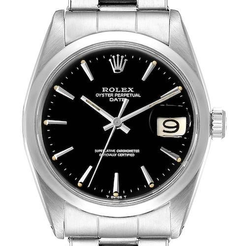 Photo of Rolex Date Smooth Bezel Black Dial Steel Vintage Mens Watch 1500