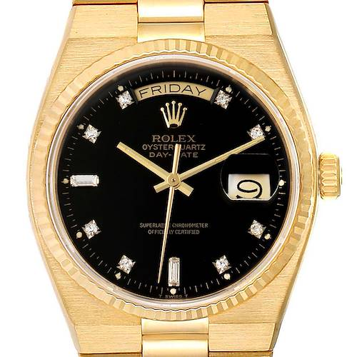 Photo of Rolex Oysterquartz President Day-Date Yellow Gold Diamond Watch 19018 Box Papers