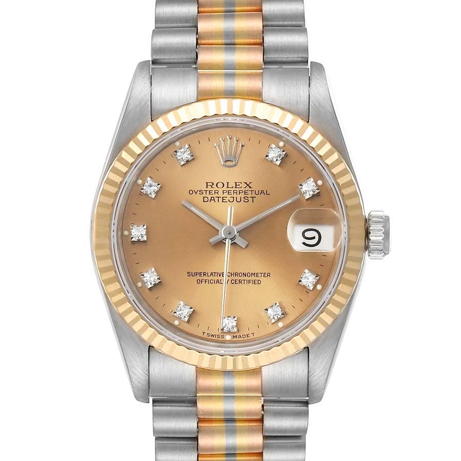 Rolex President Tridor Midsize White Yellow Rose Gold Diamonds Ladies Watch 68279  SwissWatchExpo