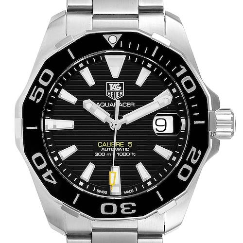 Photo of Tag Heuer Aquaracer Black Dial Steel Mens Watch WAY211A Box Card