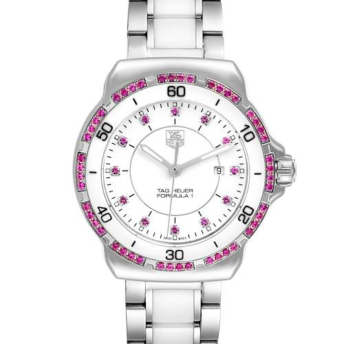 Photo of TAG Heuer Formula 1 Ceramic Pink Sapphires Ladies Watch WAH1319 Box Card