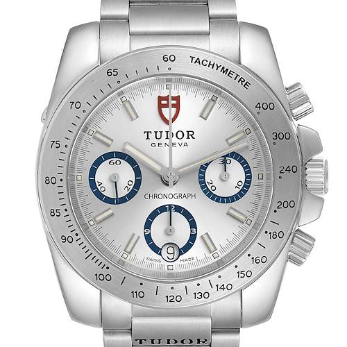 Photo of Tudor Sport Silver Dial Chronograph Steel Mens Watch 20300 Card