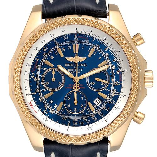 Photo of Breitling Bentley Yellow Gold Blue Dial Chronograph Watch K25362 Box