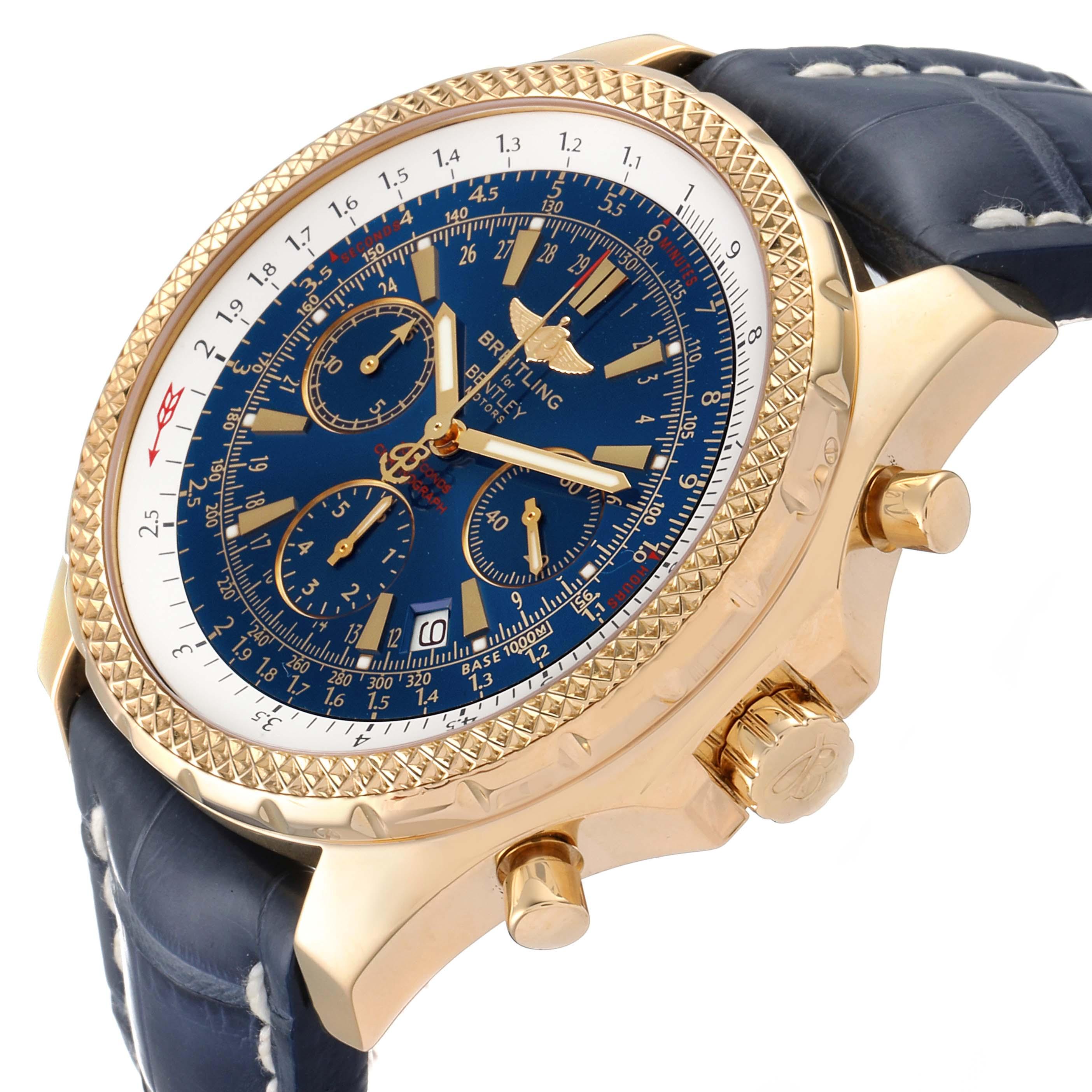 Breitling Bentley Yellow Gold Blue Dial Chronograph Watch K25362 Box SwissWatchExpo