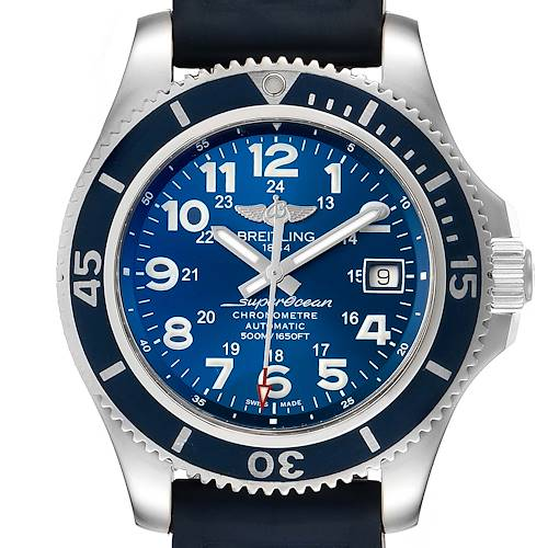 Breitling Superocean II Blue Dial Steel Mens Watch A17365 Box Papers