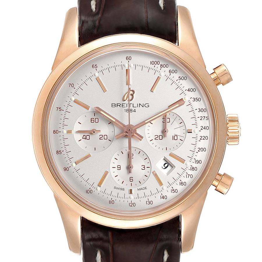 Breitling Transocean 43mm Rose Gold Mens Watch RB0152 Box SwissWatchExpo