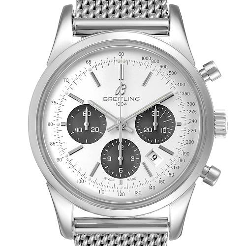 Photo of Breitling Transocean Panda Dial Chronograph Steel Mens Watch AB0152 Box Papers