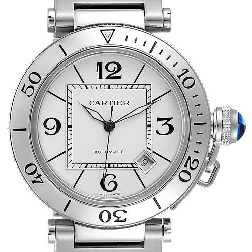 Photo of Cartier Pasha Seatimer Stainless Steel Silver Dial Mens Watch W31080M7 Box