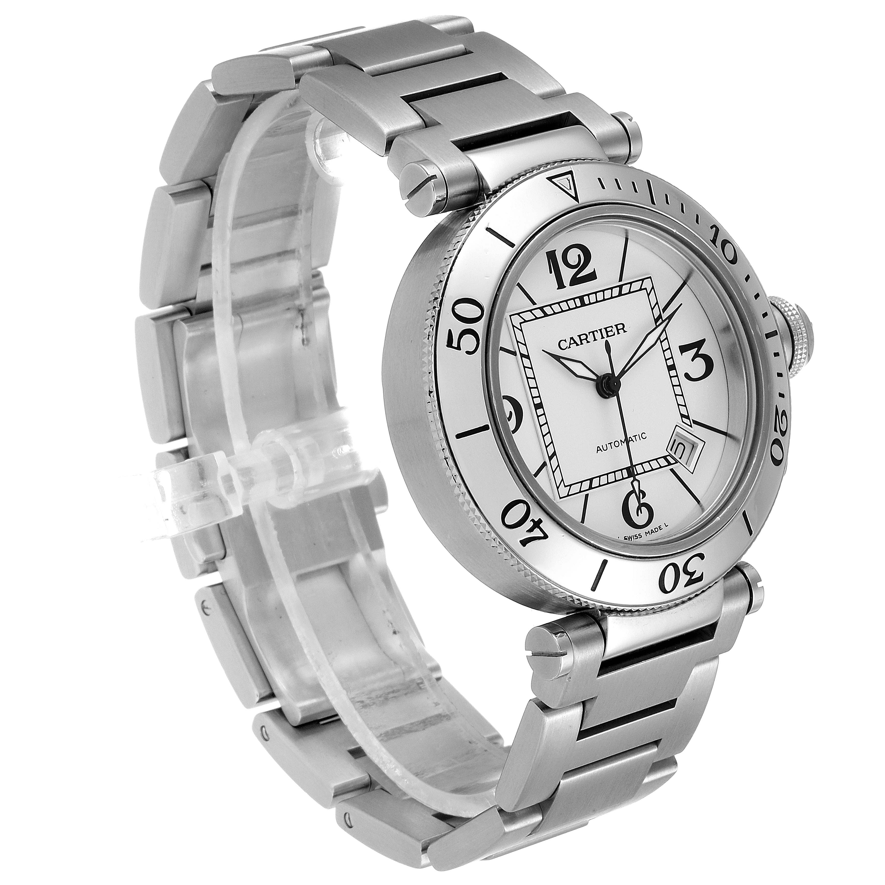 Cartier Pasha Seatimer Stainless Steel Silver Dial Mens Watch W31080M7 Box SwissWatchExpo