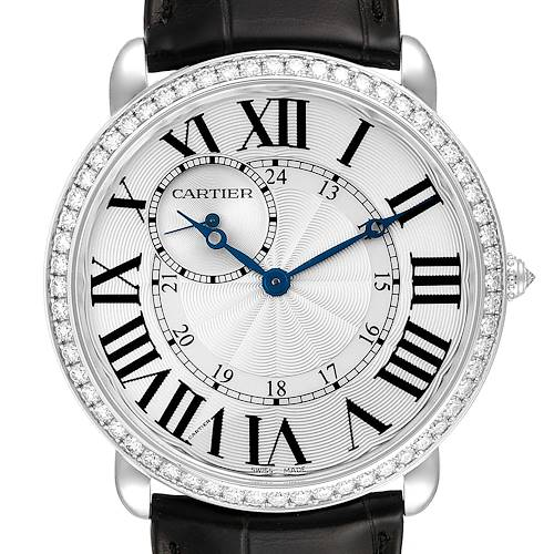 Cartier Ronde Louis 18K White Gold Diamond Bezel Mens Watch WR007002