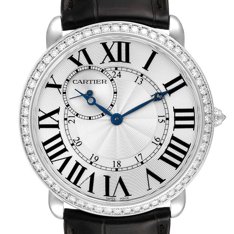 Cartier Ronde Louis 18K White Gold Diamond Bezel Mens Watch WR007002 SwissWatchExpo