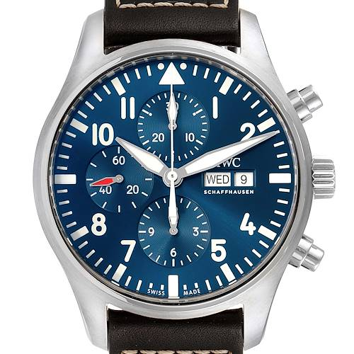 Photo of IWC Pilot Prince Blue Dial Chronograph Mens Watch IW377714 Box and Card