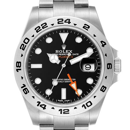 Photo of Rolex Explorer II 42 Black Dial Orange Hand Steel Mens Watch 216570 Unworn